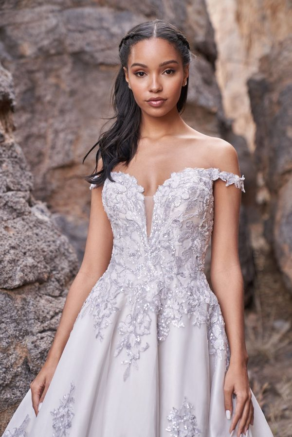 lavender lace wedding dress on bride from Sophia's Bridal Allure Bridals