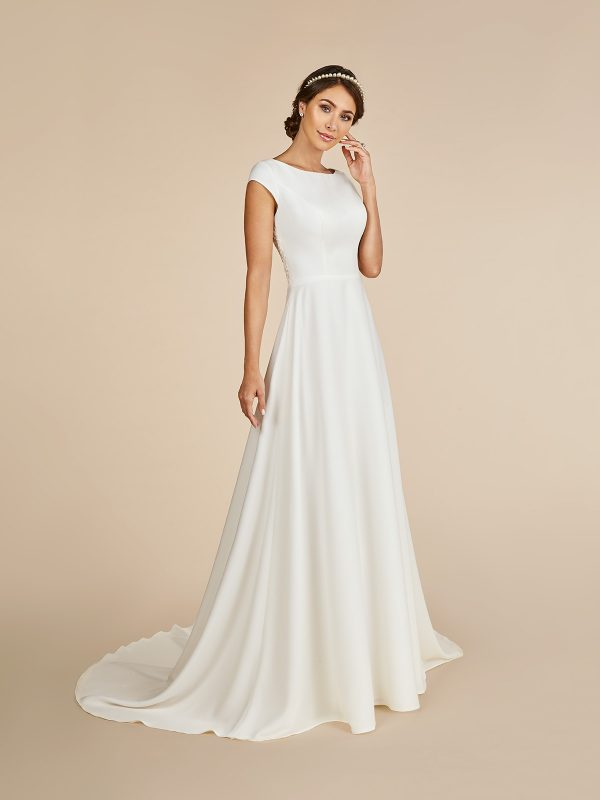 modest satin high neck a line ball gown wedding dress