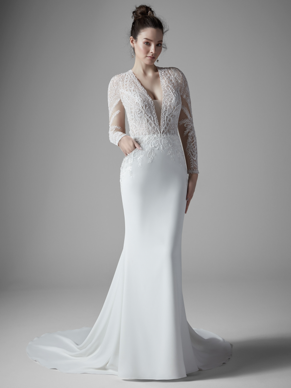 long sleeve lace wedding dress from maggie sottero at Sophia's Bridal in Indaina