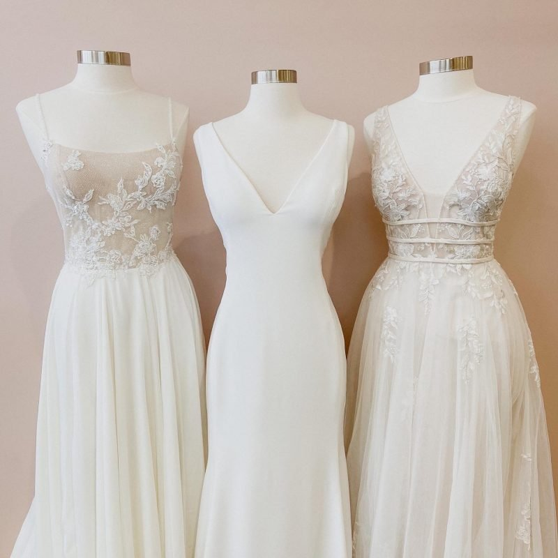 different wedding dress styles. A variety of necklines, silhouettes, and sleeves