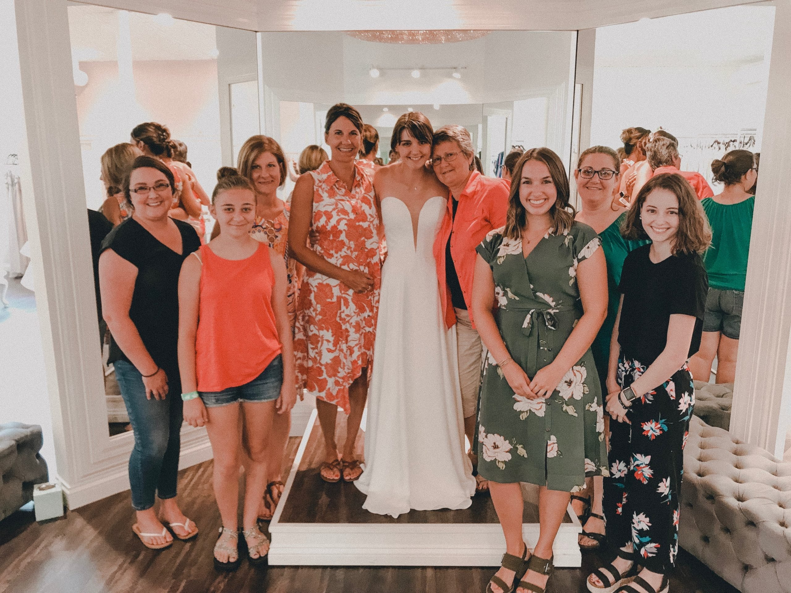 bride at her bridal appointment saying yes to the dress